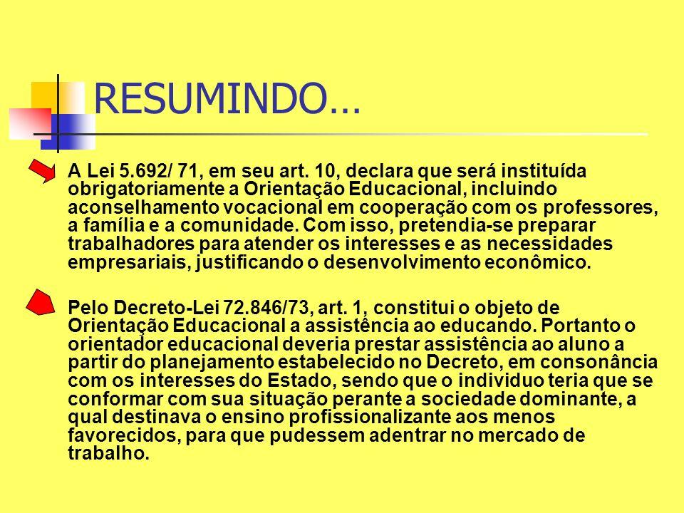 A Lei 5.692/ 71, em seu art. 10, declara que será instituída obrigatoriamente a Orientação Educacional, incluindo aconselhamento vocacional em coopera
