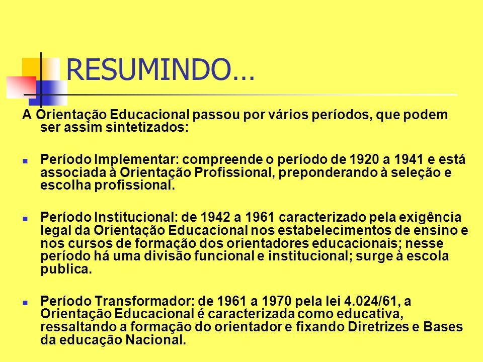 RESUMINDO… A Orientação Educacional passou por vários períodos, que podem ser assim sintetizados: Período Implementar: compreende o período de 1920 a