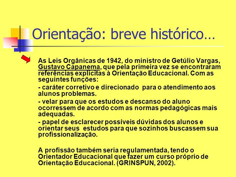 Orientação: breve histórico… As Leis Orgânicas de 1942, do ministro de Getúlio Vargas, Gustavo Capanema, que pela primeira vez se encontraram referênc
