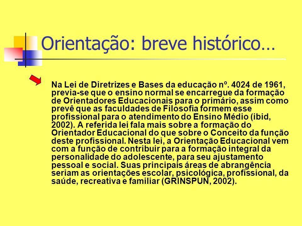 Orientação: breve histórico… Na Lei de Diretrizes e Bases da educação nº. 4024 de 1961, previa-se que o ensino normal se encarregue da formação de Ori