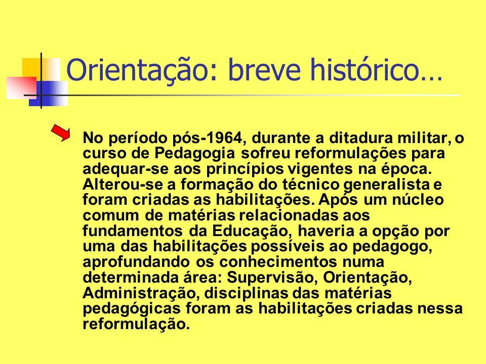 Orientação: breve histórico… No período pós-1964, durante a ditadura militar, o curso de Pedagogia sofreu reformulações para adequar-se aos princípios