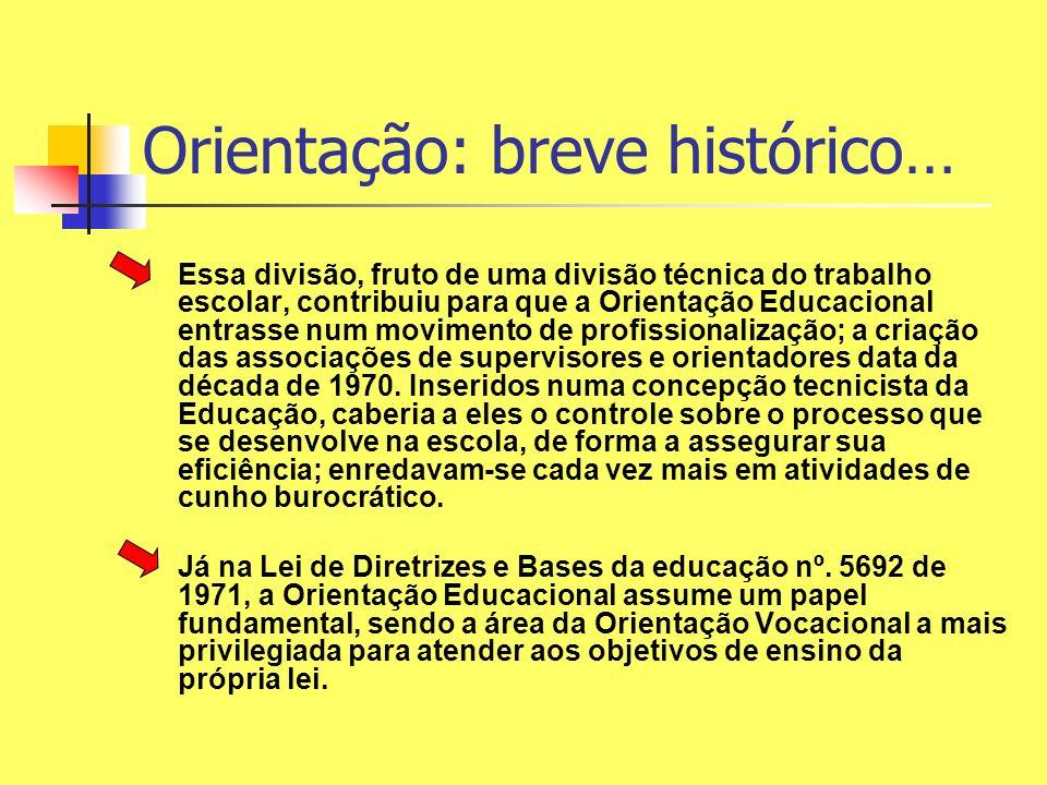 Orientação: breve histórico… Essa divisão, fruto de uma divisão técnica do trabalho escolar, contribuiu para que a Orientação Educacional entrasse num