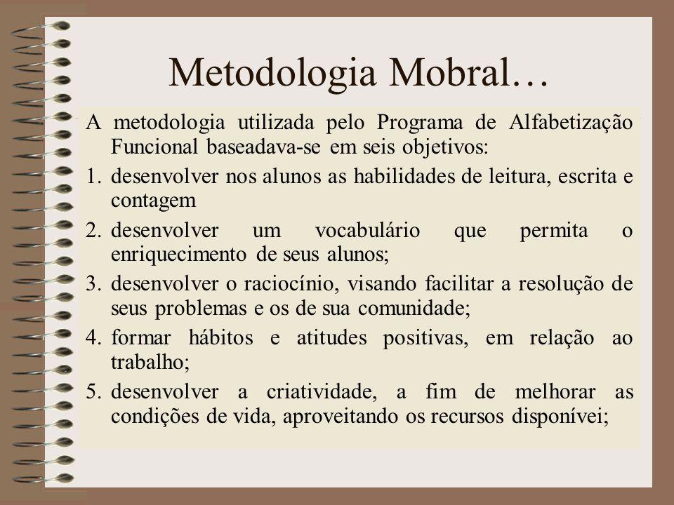 Metodologia Mobral… A metodologia utilizada pelo Programa de Alfabetização Funcional baseadava-se em seis objetivos: 1.desenvolver nos alunos as habil