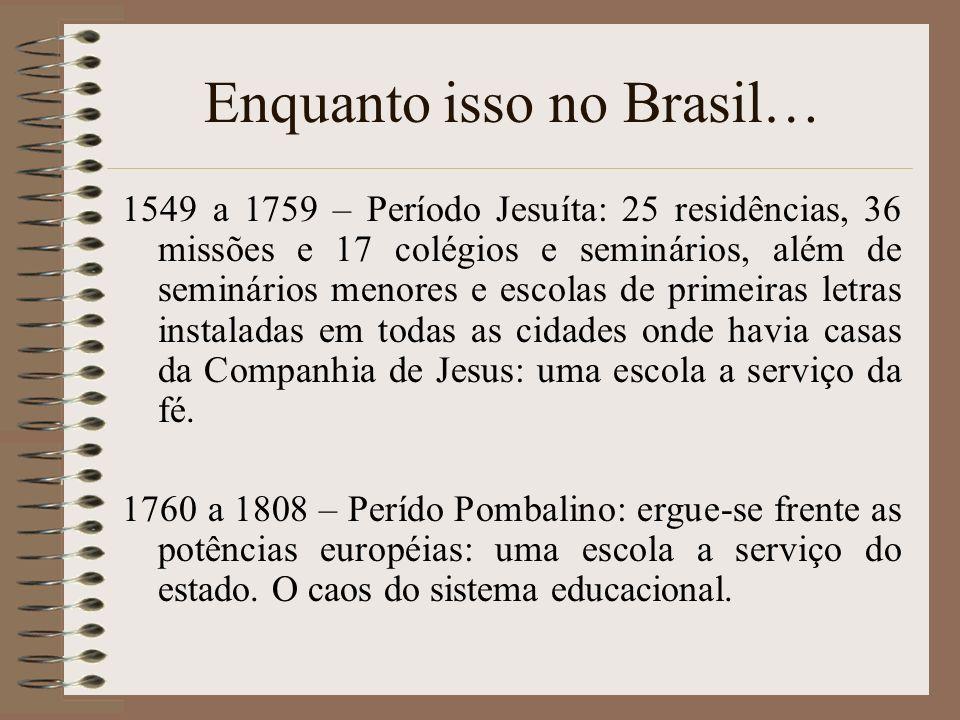 Enquanto isso no Brasil… 1549 a 1759 – Período Jesuíta: 25 residências, 36 missões e 17 colégios e seminários, além de seminários menores e escolas de