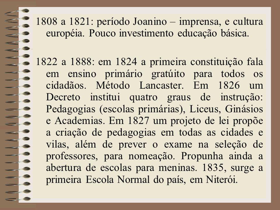 1808 a 1821: período Joanino – imprensa, e cultura européia. Pouco investimento educação básica. 1822 a 1888: em 1824 a primeira constituição fala em