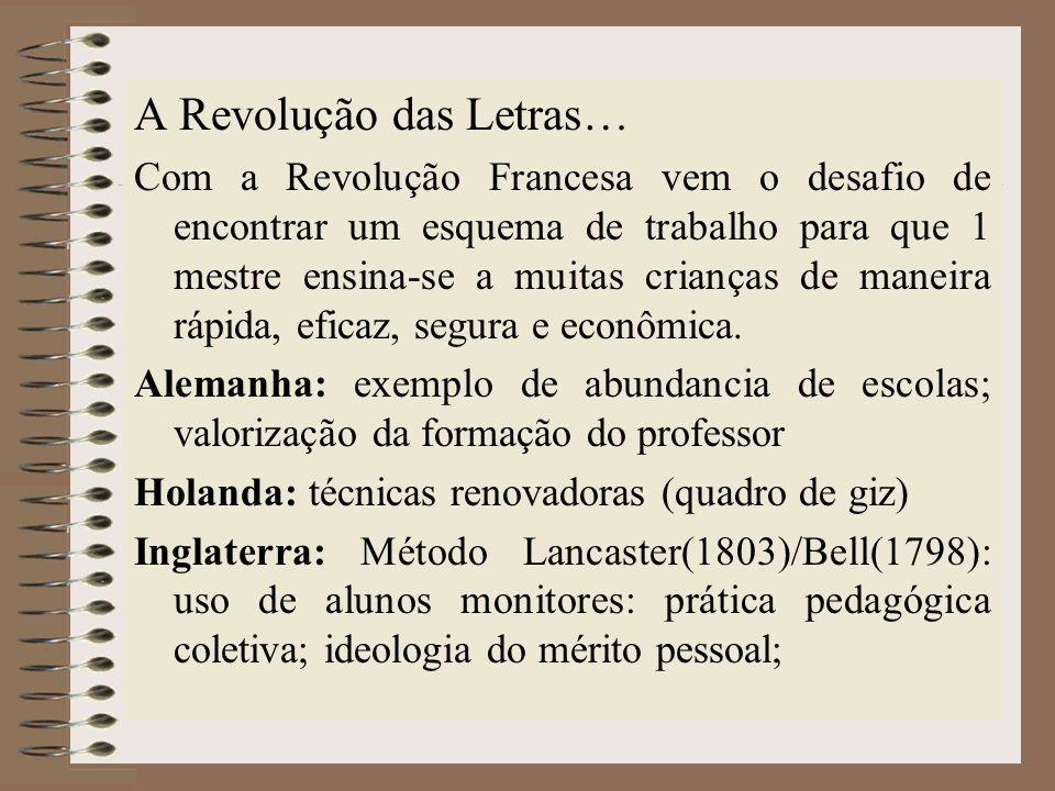 A Revolução das Letras… Com a Revolução Francesa vem o desafio de encontrar um esquema de trabalho para que 1 mestre ensina-se a muitas crianças de ma