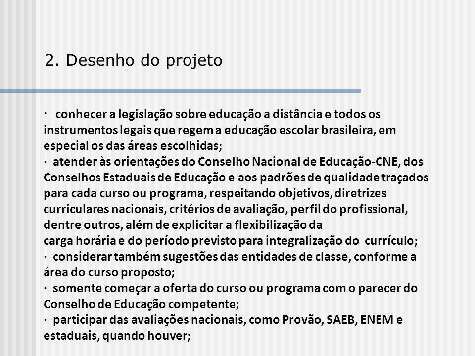 2. Desenho do projeto · conhecer a legislação sobre educação a distância e todos os instrumentos legais que regem a educação escolar brasileira, em es