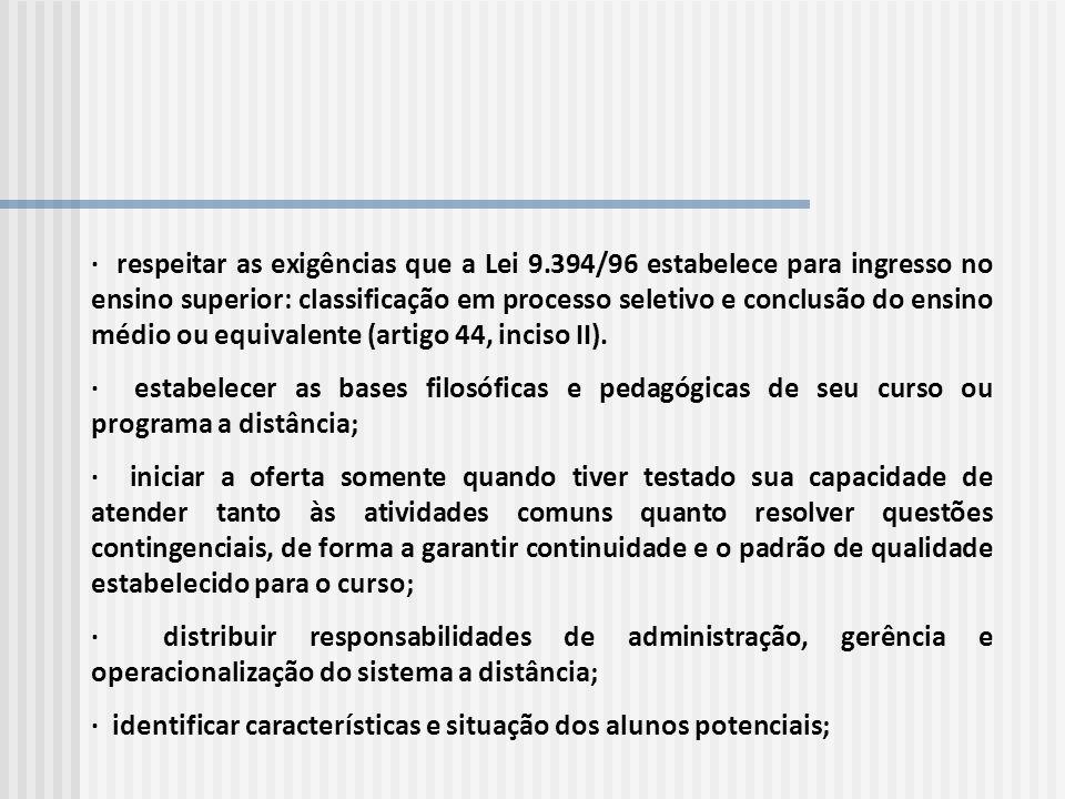 · respeitar as exigências que a Lei 9.394/96 estabelece para ingresso no ensino superior: classificação em processo seletivo e conclusão do ensino méd