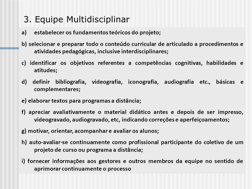 3. Equipe Multidisciplinar a)estabelecer os fundamentos teóricos do projeto; b) selecionar e preparar todo o conteúdo curricular de articulado a proce