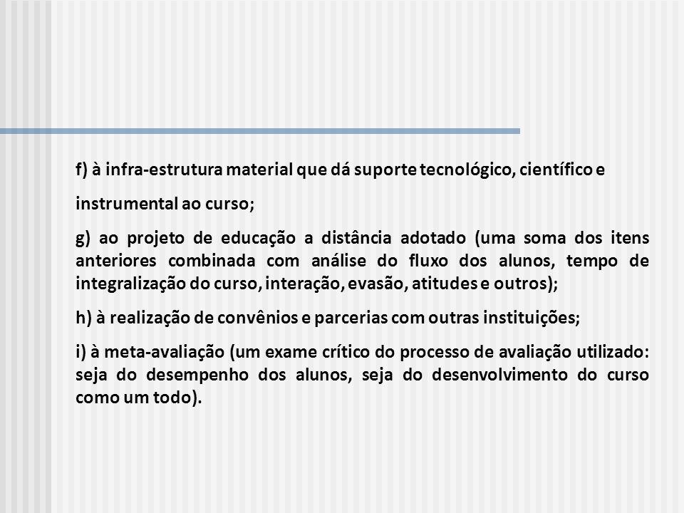 f) à infra-estrutura material que dá suporte tecnológico, científico e instrumental ao curso; g) ao projeto de educação a distância adotado (uma soma