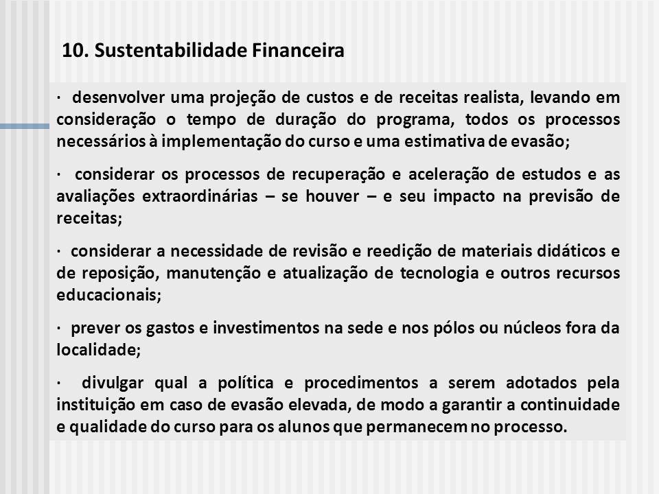 10. Sustentabilidade Financeira · desenvolver uma projeção de custos e de receitas realista, levando em consideração o tempo de duração do programa, t