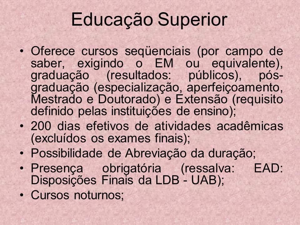 Educação Superior Oferece cursos seqüenciais (por campo de saber, exigindo o EM ou equivalente), graduação (resultados: públicos), pós- graduação (esp