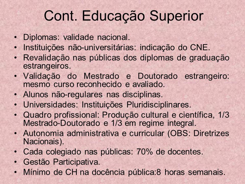 Cont. Educação Superior Diplomas: validade nacional. Instituições não-universitárias: indicação do CNE. Revalidação nas públicas dos diplomas de gradu