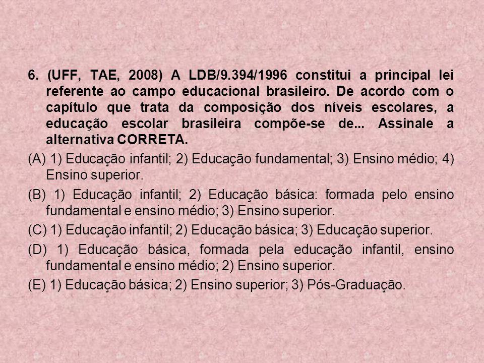 6. (UFF, TAE, 2008) A LDB/9.394/1996 constitui a principal lei referente ao campo educacional brasileiro. De acordo com o capítulo que trata da compos