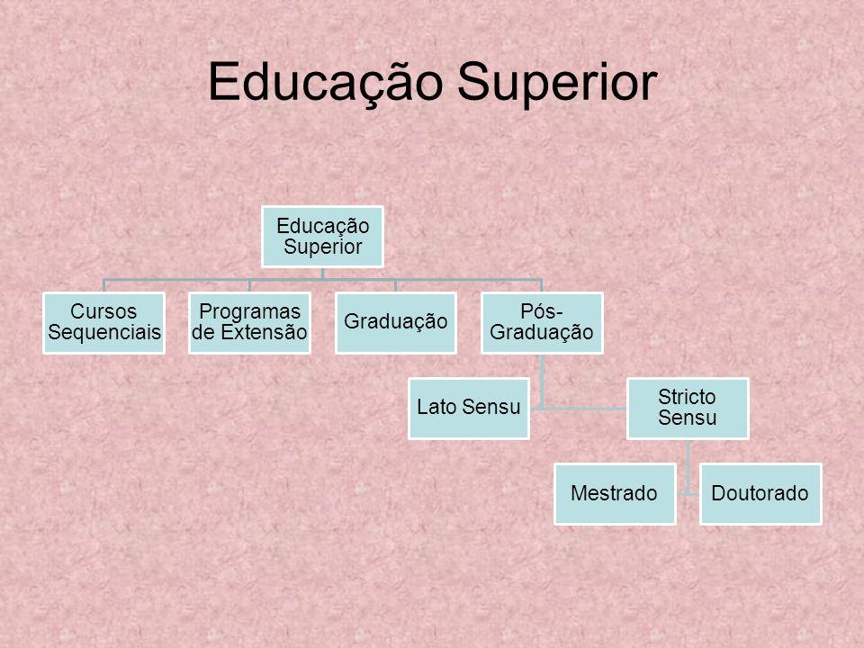 Educação Superior Cursos Sequenciais Programas de Extensão Graduação Pós- Graduação Lato Sensu Stricto Sensu MestradoDoutorado