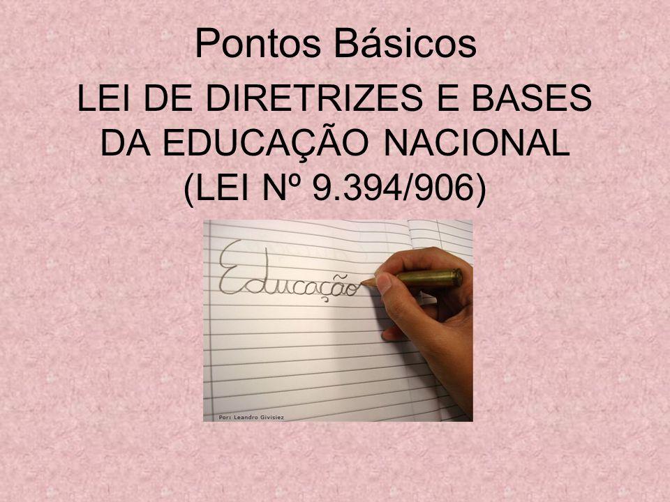 LEI DE DIRETRIZES E BASES DA EDUCAÇÃO NACIONAL (LEI Nº 9.394/906) Pontos Básicos