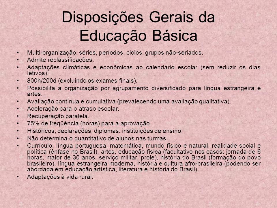 Disposições Gerais da Educação Básica Multi-organização: séries, períodos, ciclos, grupos não-seriados. Admite reclassificações. Adaptações climáticas