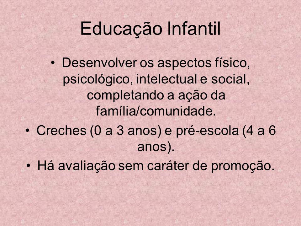 Educação Infantil Desenvolver os aspectos físico, psicológico, intelectual e social, completando a ação da família/comunidade. Creches (0 a 3 anos) e