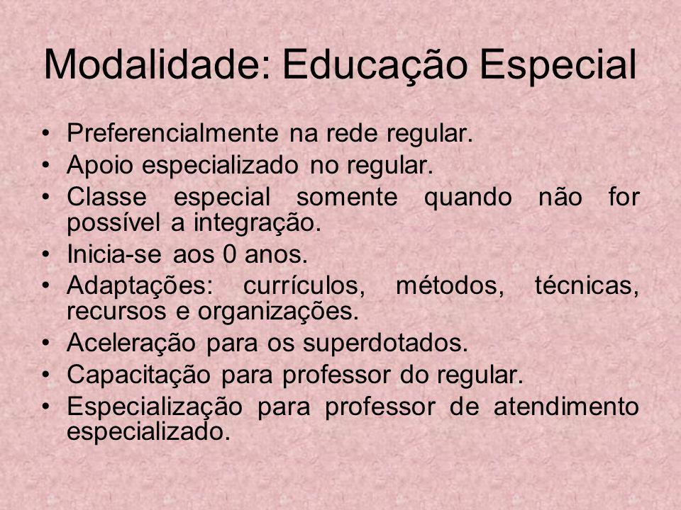 Modalidade: Educação Especial Preferencialmente na rede regular. Apoio especializado no regular. Classe especial somente quando não for possível a int