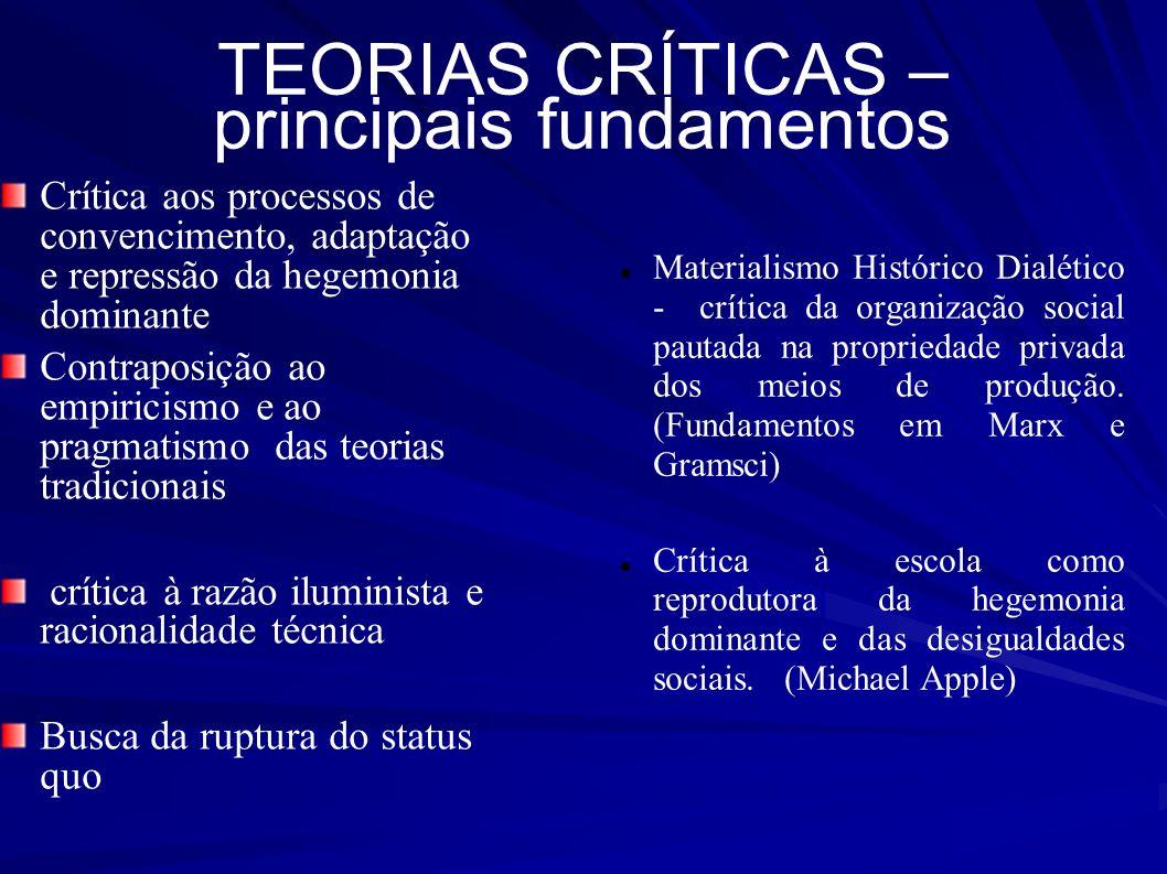 TEORIAS CRÍTICAS – principais fundamentos Materialismo Histórico Dialético - crítica da organização social pautada na propriedade privada dos meios de