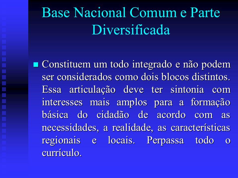 Base Nacional Comum e Parte Diversificada Constituem um todo integrado e não podem ser considerados como dois blocos distintos. Essa articulação deve