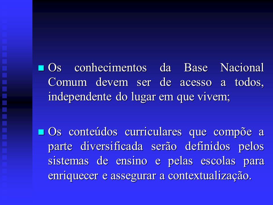 Os conhecimentos da Base Nacional Comum devem ser de acesso a todos, independente do lugar em que vivem; Os conhecimentos da Base Nacional Comum devem