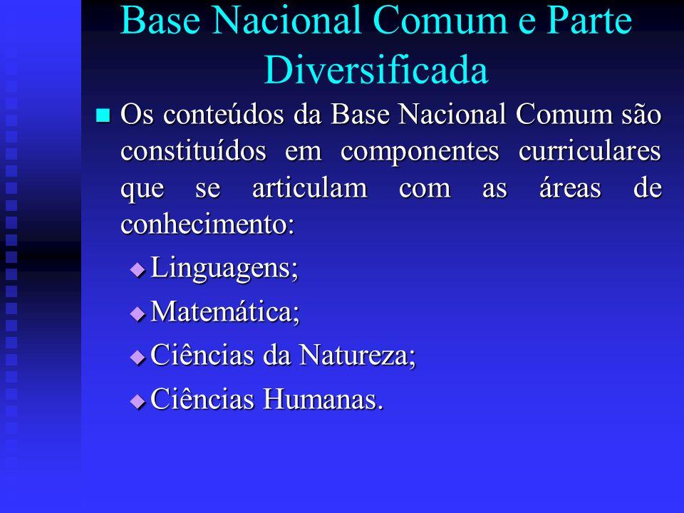 Base Nacional Comum e Parte Diversificada Os conteúdos da Base Nacional Comum são constituídos em componentes curriculares que se articulam com as áre