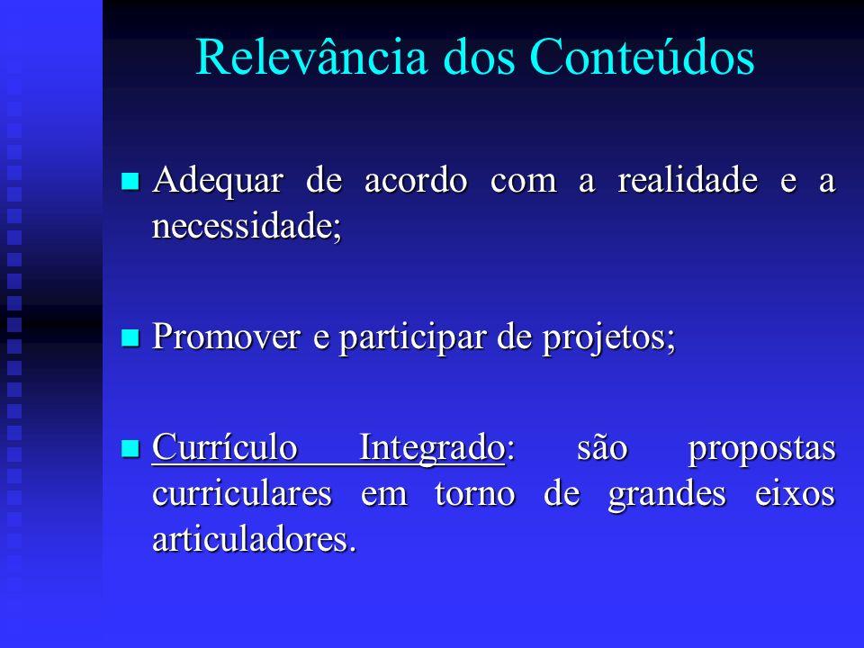 Relevância dos Conteúdos Adequar de acordo com a realidade e a necessidade; Adequar de acordo com a realidade e a necessidade; Promover e participar d