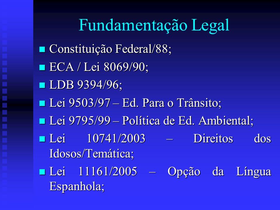 Fundamentação Legal Constituição Federal/88; Constituição Federal/88; ECA / Lei 8069/90; ECA / Lei 8069/90; LDB 9394/96; LDB 9394/96; Lei 9503/97 – Ed