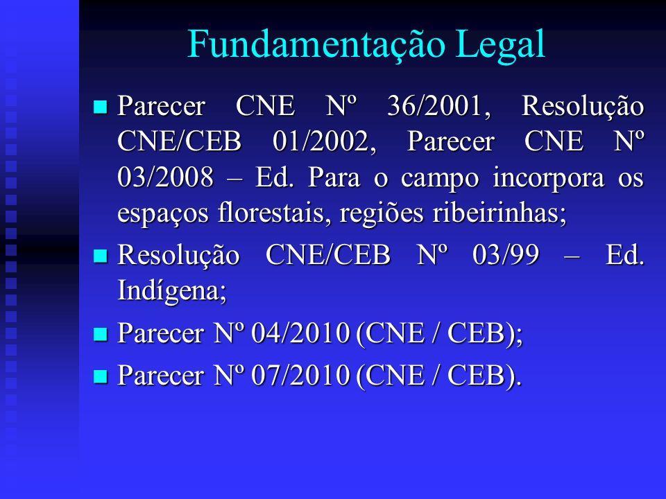 Fundamentação Legal Parecer CNE Nº 36/2001, Resolução CNE/CEB 01/2002, Parecer CNE Nº 03/2008 – Ed. Para o campo incorpora os espaços florestais, regi