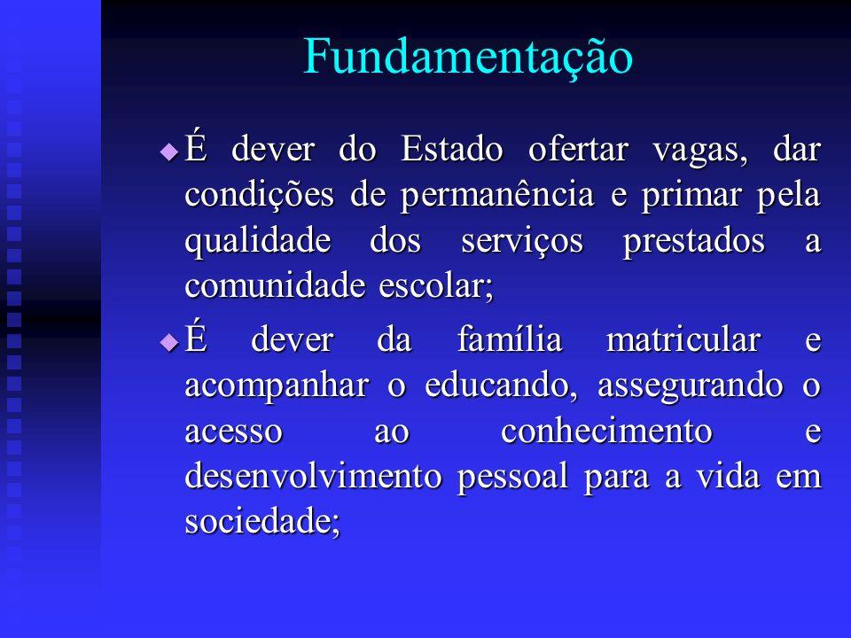 Fundamentação É dever do Estado ofertar vagas, dar condições de permanência e primar pela qualidade dos serviços prestados a comunidade escolar; É dev
