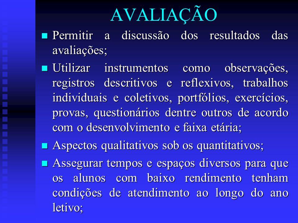 AVALIAÇÃO Permitir a discussão dos resultados das avaliações; Permitir a discussão dos resultados das avaliações; Utilizar instrumentos como observaçõ