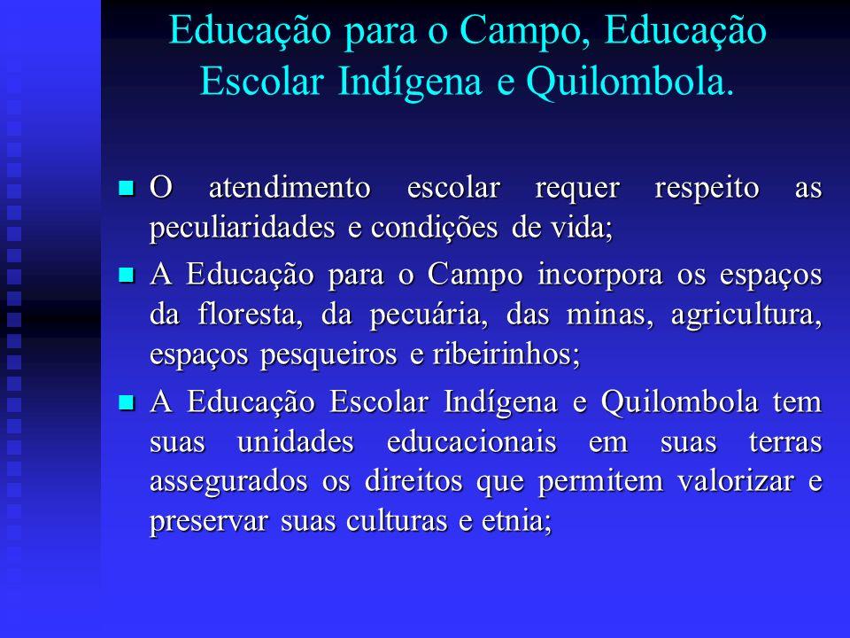 Educação para o Campo, Educação Escolar Indígena e Quilombola. O atendimento escolar requer respeito as peculiaridades e condições de vida; O atendime