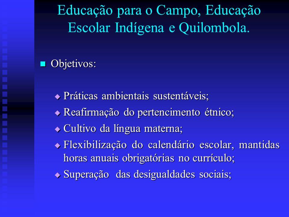 Educação para o Campo, Educação Escolar Indígena e Quilombola. Objetivos: Objetivos: Práticas ambientais sustentáveis; Práticas ambientais sustentávei