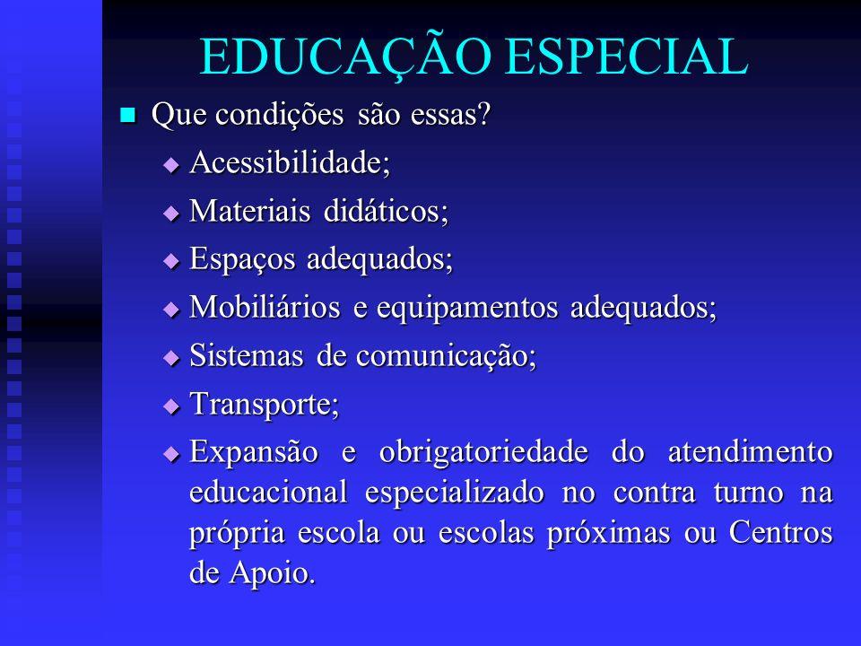 EDUCAÇÃO ESPECIAL Que condições são essas? Que condições são essas? Acessibilidade; Acessibilidade; Materiais didáticos; Materiais didáticos; Espaços