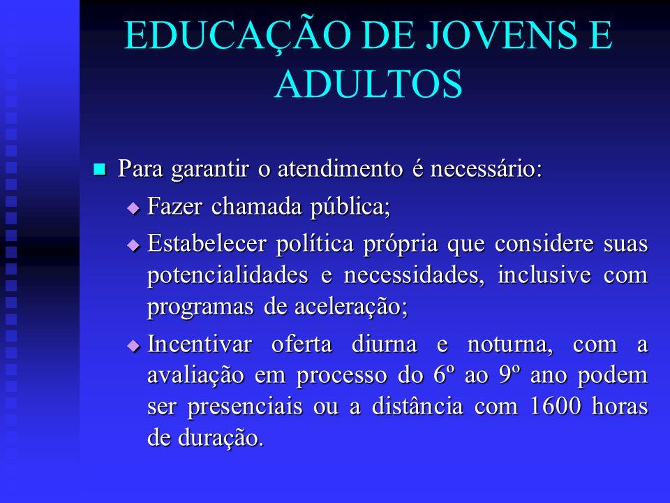 EDUCAÇÃO DE JOVENS E ADULTOS Para garantir o atendimento é necessário: Para garantir o atendimento é necessário: Fazer chamada pública; Fazer chamada