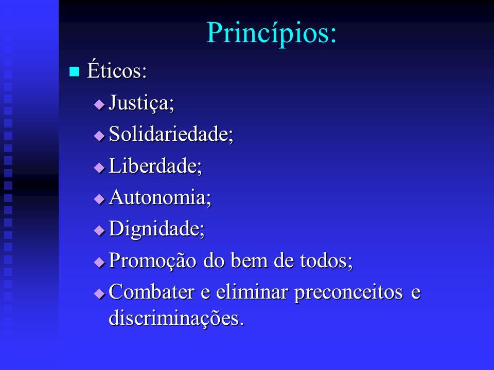 Princípios: Éticos: Éticos: Justiça; Justiça; Solidariedade; Solidariedade; Liberdade; Liberdade; Autonomia; Autonomia; Dignidade; Dignidade; Promoção