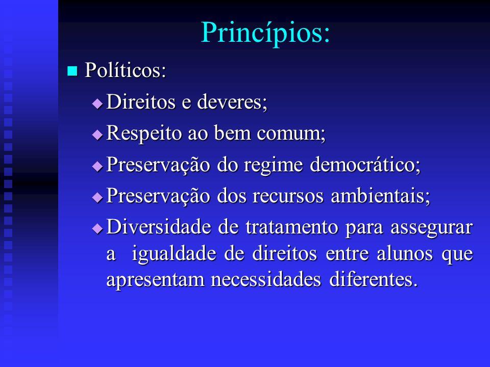 Princípios: Políticos: Políticos: Direitos e deveres; Direitos e deveres; Respeito ao bem comum; Respeito ao bem comum; Preservação do regime democrát