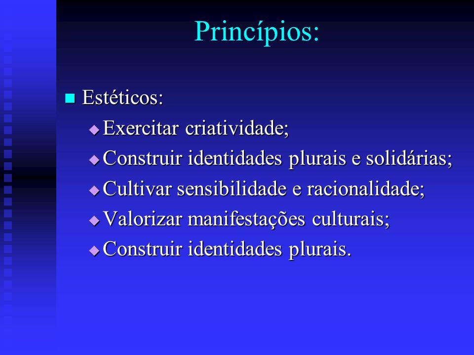 Princípios: Estéticos: Estéticos: Exercitar criatividade; Exercitar criatividade; Construir identidades plurais e solidárias; Construir identidades pl