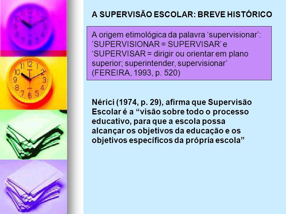 A SUPERVISÃO ESCOLAR: BREVE HISTÓRICO A origem etimológica da palavra supervisionar: SUPERVISIONAR = SUPERVISAR e SUPERVISAR = dirigir ou orientar em