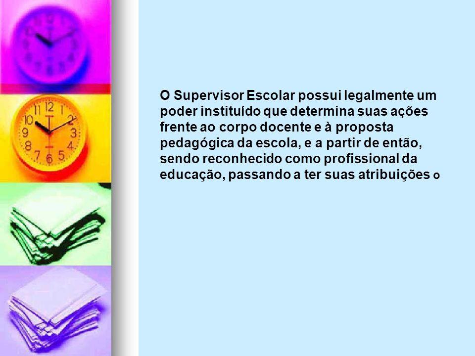 O Supervisor Escolar possui legalmente um poder instituído que determina suas ações frente ao corpo docente e à proposta pedagógica da escola, e a par