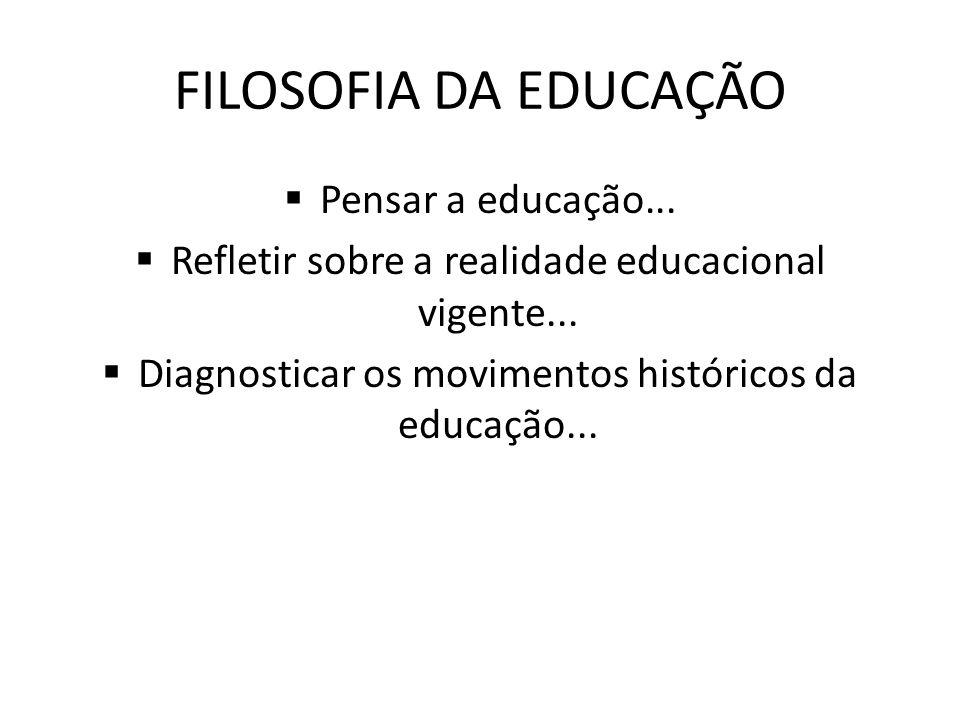 FILOSOFIA DA EDUCAÇÃO Pensar a educação... Refletir sobre a realidade educacional vigente... Diagnosticar os movimentos históricos da educação...