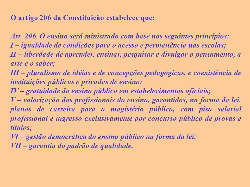O artigo 206 da Constituição estabelece que: Art.206.