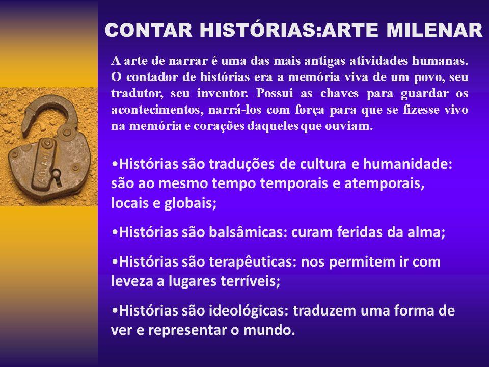 CONTAR HISTÓRIAS:ARTE MILENAR A arte de narrar é uma das mais antigas atividades humanas. O contador de histórias era a memória viva de um povo, seu t