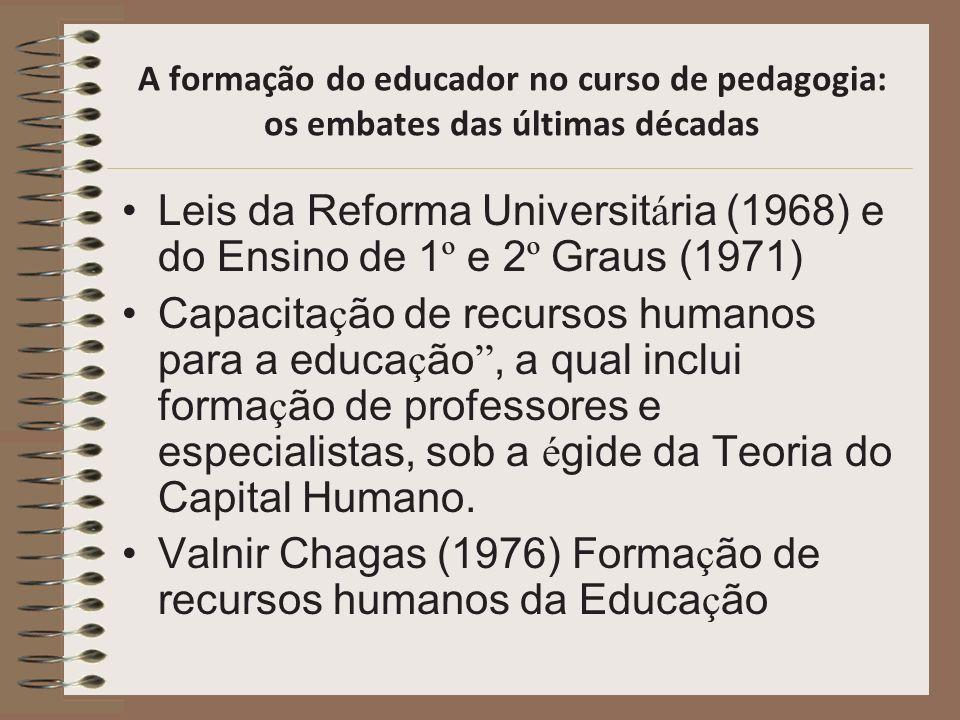 A formação do educador no curso de pedagogia: os embates das últimas décadas Leis da Reforma Universit á ria (1968) e do Ensino de 1 º e 2 º Graus (19
