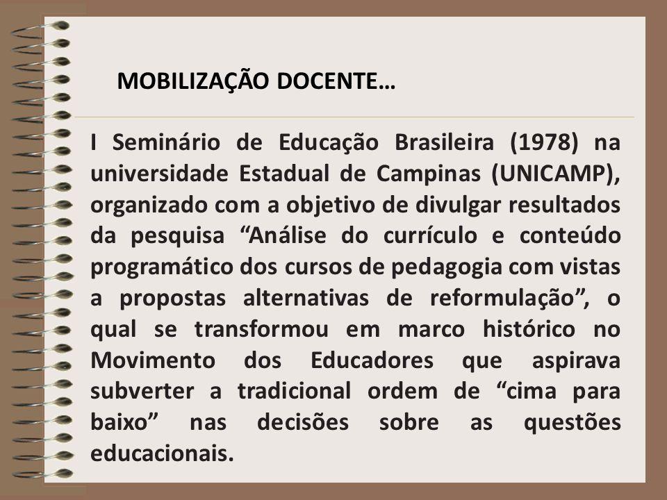 MOBILIZAÇÃO DOCENTE… I Seminário de Educação Brasileira (1978) na universidade Estadual de Campinas (UNICAMP), organizado com a objetivo de divulgar r