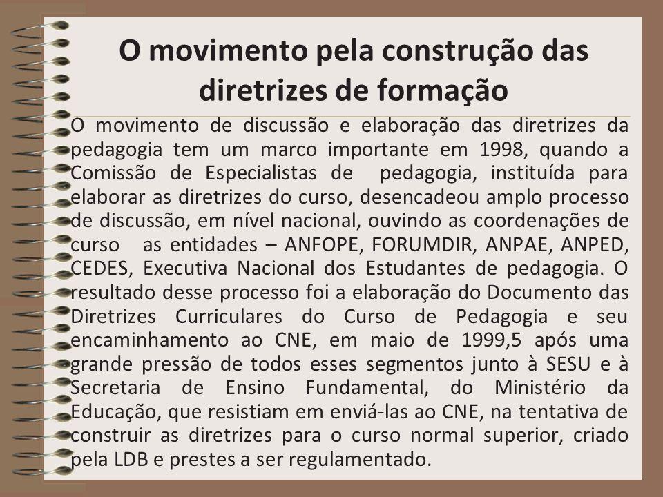 O movimento pela construção das diretrizes de formação O movimento de discussão e elaboração das diretrizes da pedagogia tem um marco importante em 19