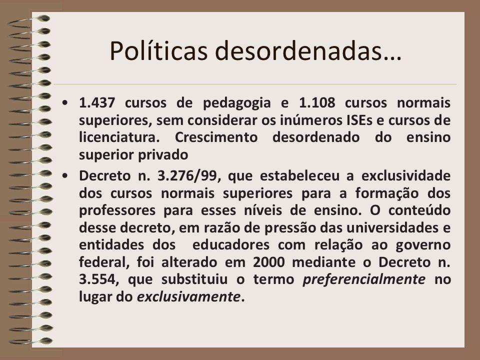Políticas desordenadas… 1.437 cursos de pedagogia e 1.108 cursos normais superiores, sem considerar os inúmeros ISEs e cursos de licenciatura. Crescim