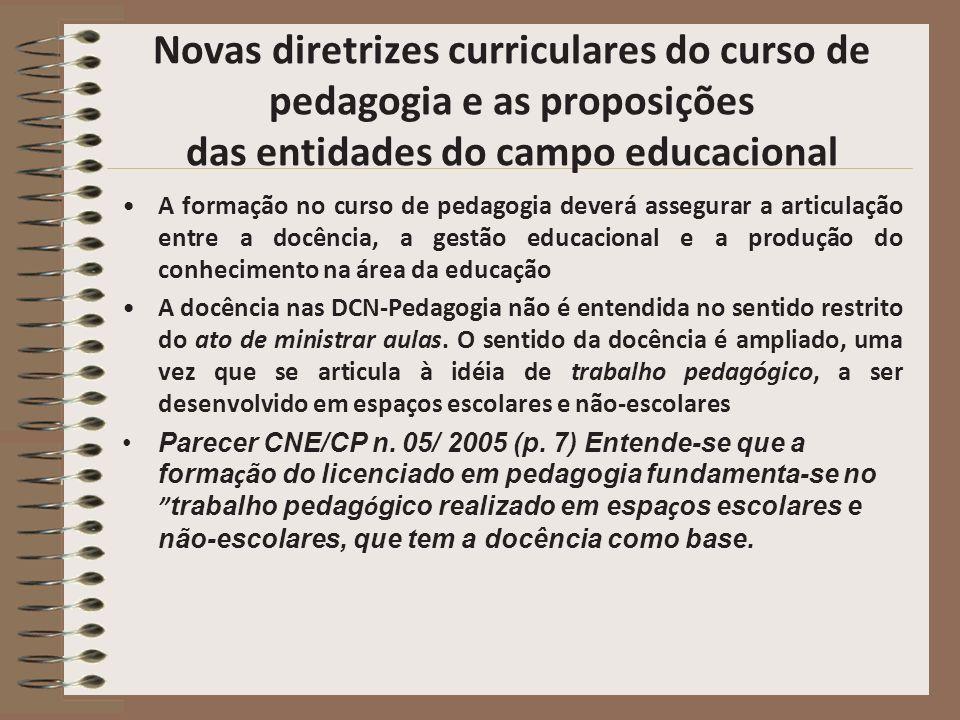 Novas diretrizes curriculares do curso de pedagogia e as proposições das entidades do campo educacional A formação no curso de pedagogia deverá assegu