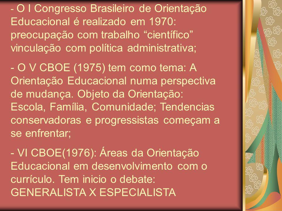 - O I Congresso Brasileiro de Orientação Educacional é realizado em 1970: preocupação com trabalho científico vinculação com política administrativa;